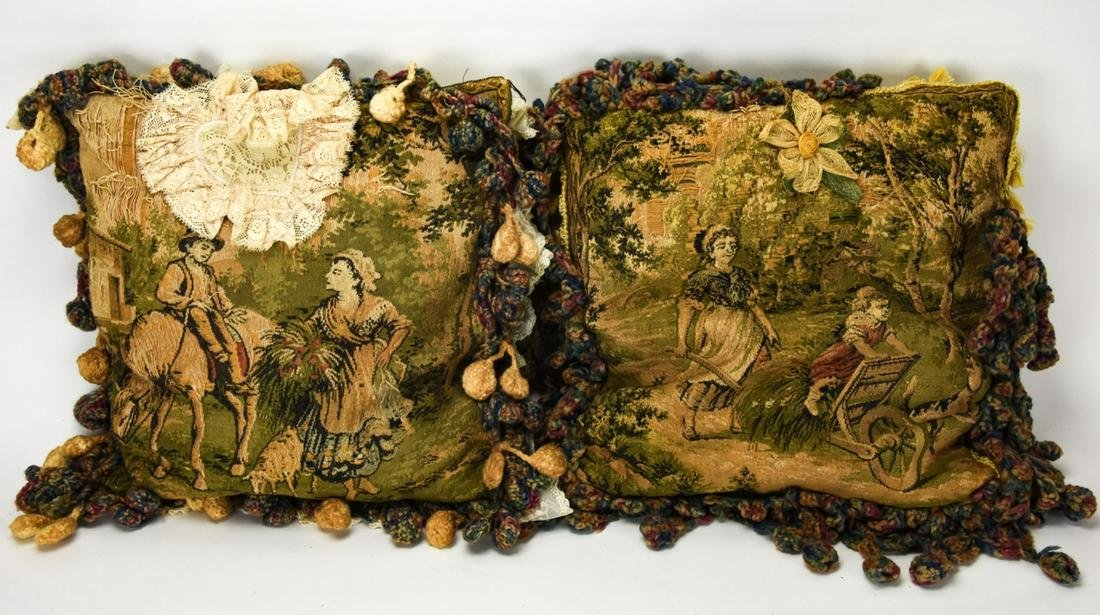Pair Antique Tapestry Pillows of Farming Scenes