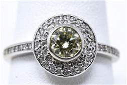 Estate 18kt White Gold & Yellow Diamond Ring
