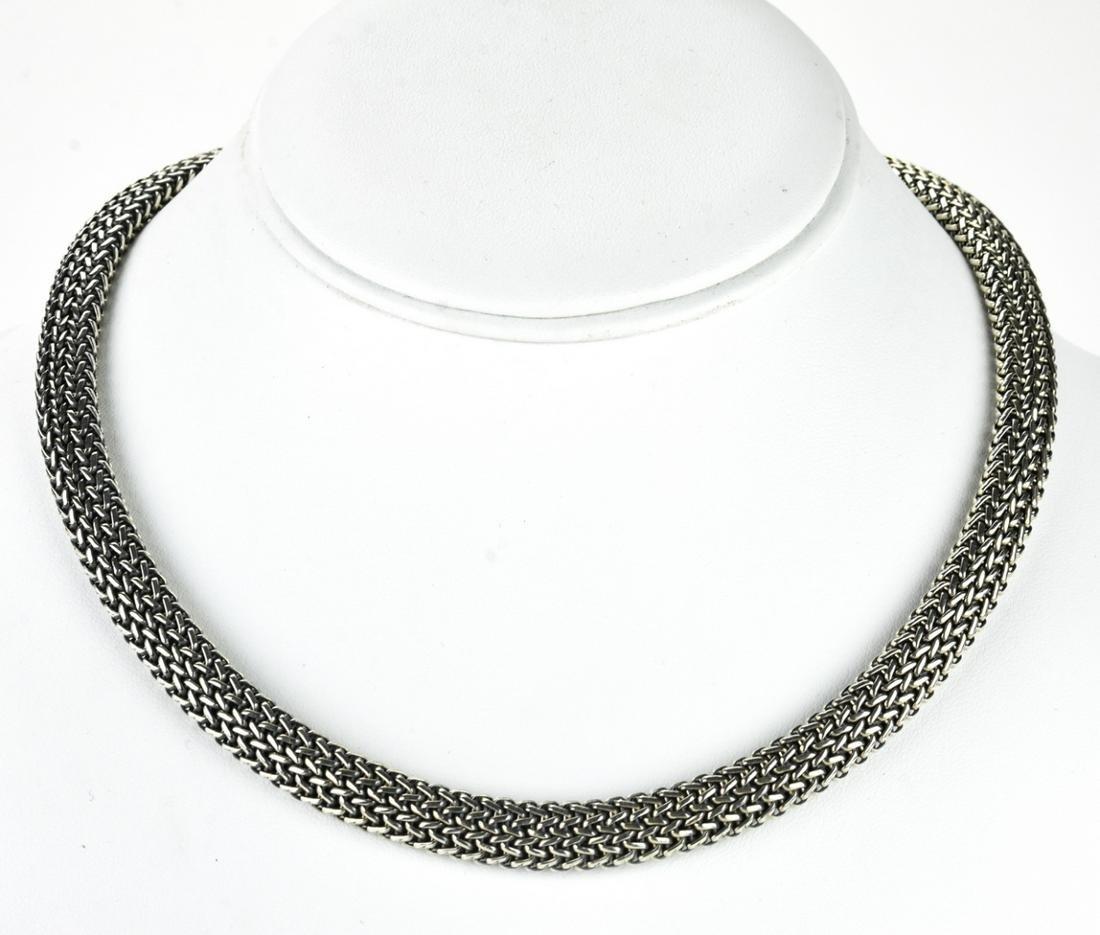 Flli Menegatti Sterling & 18K Gold Woven Necklace