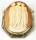 Edwardian 14k White Gold Shell Cameo 3 Graces