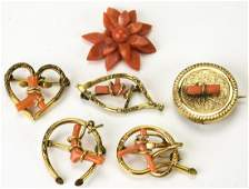 6 Mostly Victorian Gold Filled & Coral Brooches