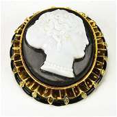 Antique Sardonyx Cameo in 14k Gold Enamel Brooch