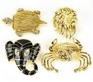 Lot of 4 Vintage Animal Form Brooch Pins