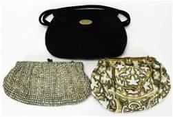 Three Vintage Ladies Evening Purses  Hang Bags