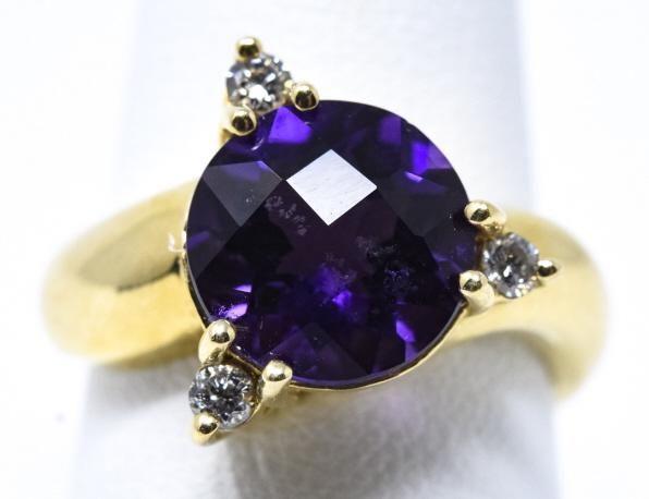 Contemporary 14kt Gold Diamond & Amethyst Ring