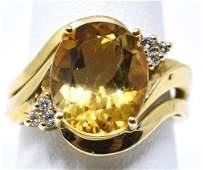 Estate 14kt Yellow Gold Citrine & Diamond Ring