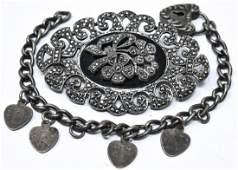 Antique Silver Marcasite Brooch  Padlock Bracelet