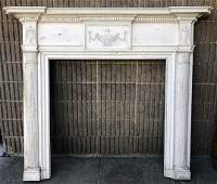 Antique Adams Style Carved Fireplace Mantle