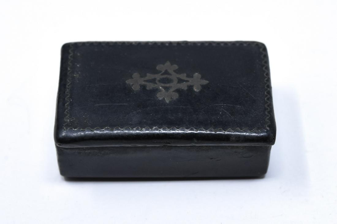 Antique 19th C Silver Inlaid Miniature Snuff Box