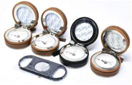Four Faux Leather and Chrome Travel Alarm Clocks