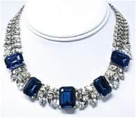 Vintage Costume Sapphire  Diamond Paste Necklace