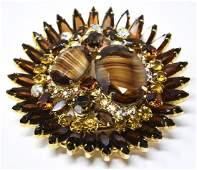 Huge Vintage Costume Jewelry Statement Brooch