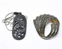 Vintage Sterling Marcasite Brooch  Necklace