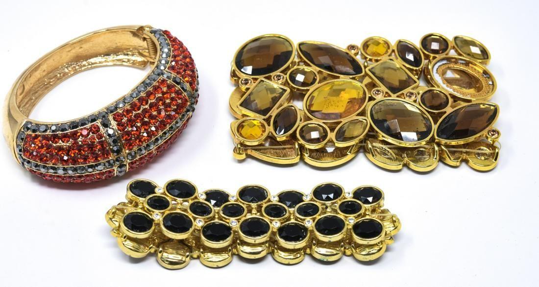 3 Gilt Metal Colored Rhinestone Costume Bracelets