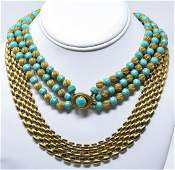 Two Vintage Gilt Costume Jewelry Necklaces