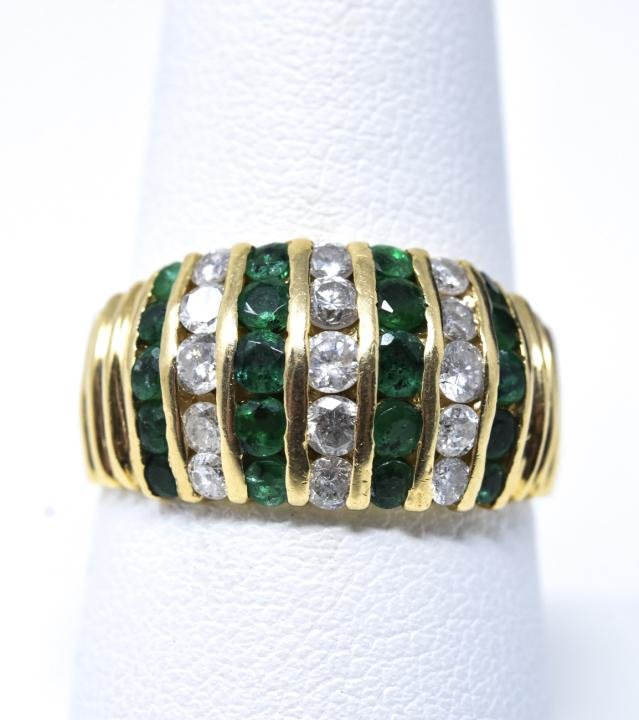 Estate 14kt Yellow Gold Emerald & Diamond Ring