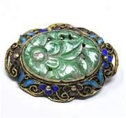 Vermeil Silver Filigree & Carved Jade Brooch / Pin