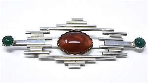Modernist Sterling Silver  Carnelian Brooch