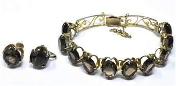 Vintage Silver  Smoky Quartz Bracelet  Earrings