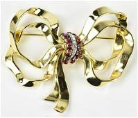 Vintage C 1940s Large Scale Mazer Gilt Bow Brooch