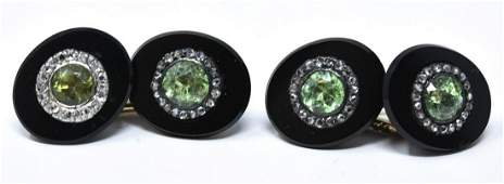 Estate Diamond  Tsavorite Garnet Cufflink Pair