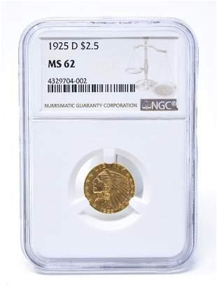 C 1925 D $2.5 Indian Head Gold Coin