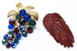 Two Vintage Retro Brooches - Bakelite & Beads