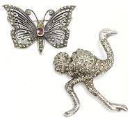 Pair Vintage Sterling Marcasite Figural Brooches