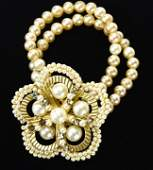 Vintage Gilt Metal Rhinestone Faux Pearl Bracelet