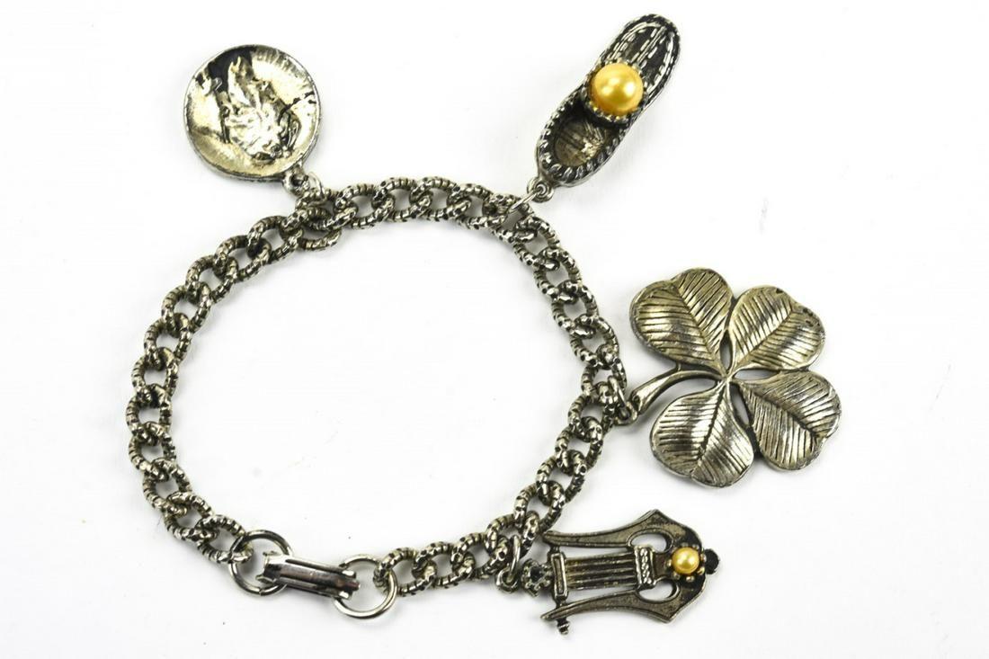 Vintage Silver Tone Costume Jewelry Charm Bracelet