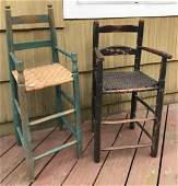 Two Antique 19th C American Children's Highchairs
