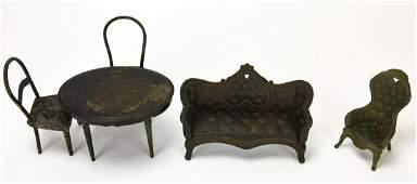 Antique 19th C J E Stevens Dollhouse Furniture