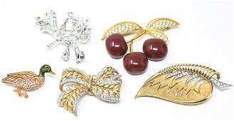 Collection of Vintage Rhinestone Costume Pins