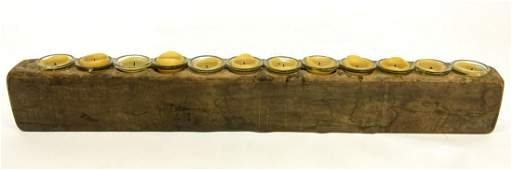 12 Candle Hand Carved Wood Log Candleholder
