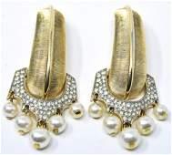 Pair Vintage Crown Trifari Gilt & Faux Pearl Pins