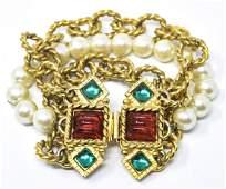 Vintage Costume Jewelry Bracelet w Faux Pearls