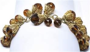 Vintage 1960s Gilt Metal Faux Amber Charm Bracelet