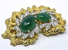 Vintage C 1970s Jomaz Emerald Paste Brooch