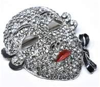 Vintage C 1930s Paste Set Mask Motif Brooch