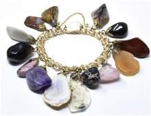 Vintage C 1960s Gold Filled  Hardstone Bracelet
