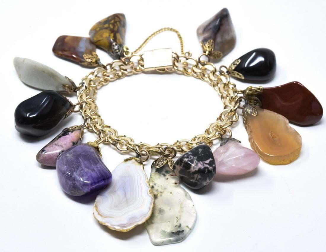 Vintage C 1960s Gold Filled & Hardstone Bracelet