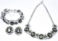Vintage C 1960s Rhinestone Jewelry Parure Suite