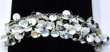Vintage 1950s Mother of Pearl & Art Glass Bracelet