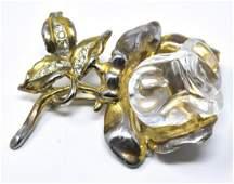 Vintage C 1940 Jelly Belly Rose Motif Large Brooch