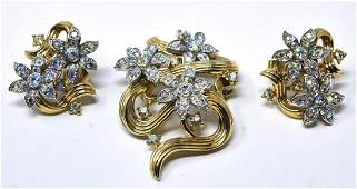 Vintage Crown Trifari Brooch & Earring Parure