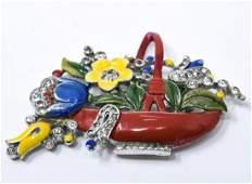 Vintage C 1940s Crown Trifari Enamel Floral Clip