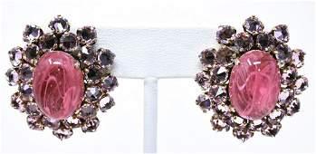 Vintage Schreiner NY Art Glass & Paste Earrings