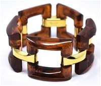 Vintage C 1970s Crown Trifari Faux Amber Bracelet
