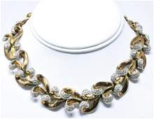 Vintage C 1960 Crown Trifari Gilt & Paste Necklace