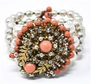 Vintage Miriam Haskell Faux Pearl & Coral Bracelet